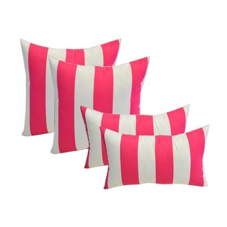 Pink White Striped Pillows Set