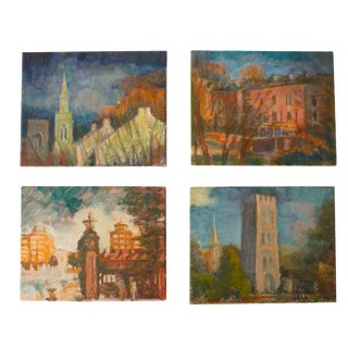 Original Oil on Canvas Landscape Paintings - Set of 4