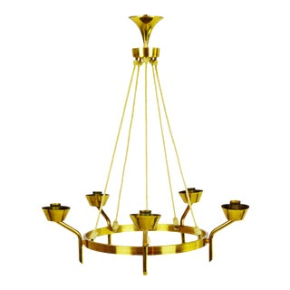 Antique Brass & Rope Chain 5 Light Chandelier