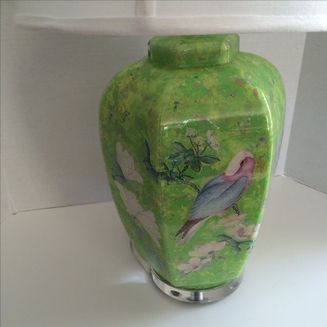 Image of Reverse Painted Decoupage Lamp On Lucite Base