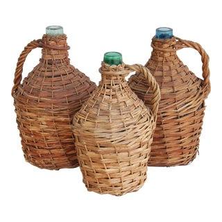 Large French Wicker Demijohn Bottles - Set of 3
