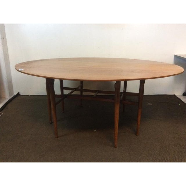 Mid-Century Modern Carved Drop-Leaf Dining Table - Image 4 of 5