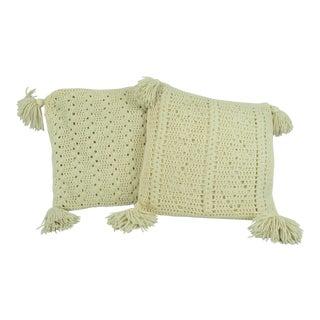 Boho Crochet Throw Pillows With Tassels - A Pair