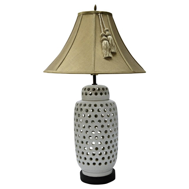 Mid-Century White Perforated Porcelain Table Lamp - Image 1 of 9