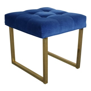 Hollywood Regency Tufted Blue Velvet & Brass Stool