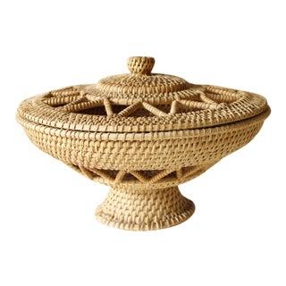 Vintage Round Lidded Basket Bowl Boho Woven