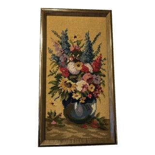 Vintage Flowers in Vase Needlepoint