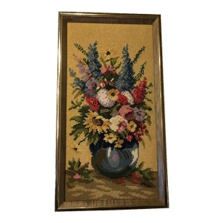 Vintage Flowers in Vase Needlepoint
