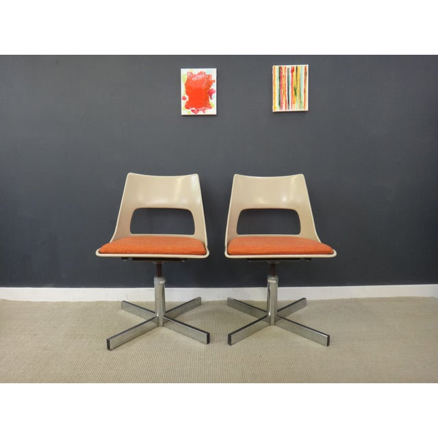 Image of Mid-Century Krueger Swivel Chairs - A Pair