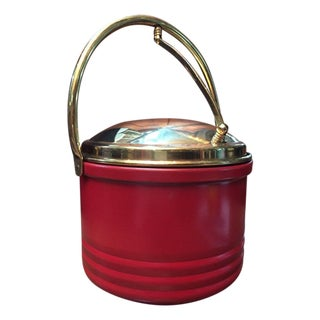 Mid Century Red & Brass Trim Bar Ice Bucket