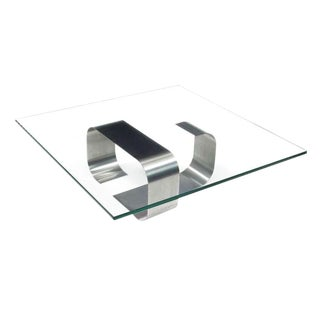 Francois Monnet Glass & Steel Cocktail Table