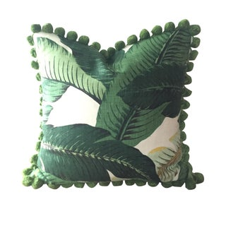 Linen & Pom Poms Banana Leaves Pillow Cover