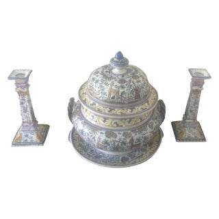 Portuguese Tureen on Platter With Candlesticks