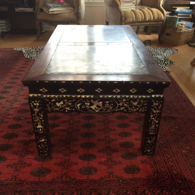 Chinoiserie Mother of Pearl Marble Table - Image 8 of 9
