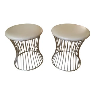 Mid-Century Stainless Steel Stools - A Pair