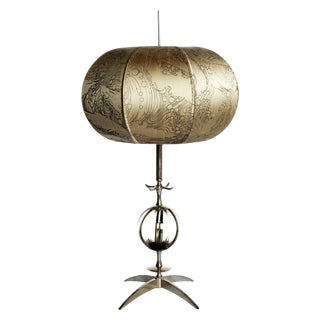 Contemporary Glass Sphere & Nickel Table Lamp