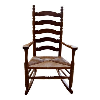 Traditional 5-Slat Wooden Oak and Mahogany Rocking Chair
