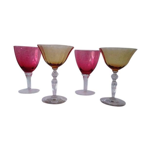 Vintage Raspberry & Honey Wine Glasses - S/4 - Image 1 of 6