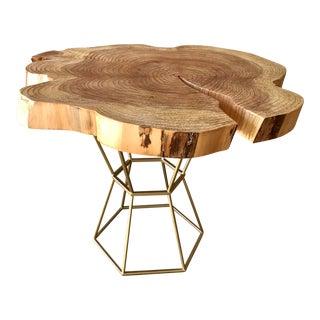Live Edge Coffee Table on Gilt Pedestal Base