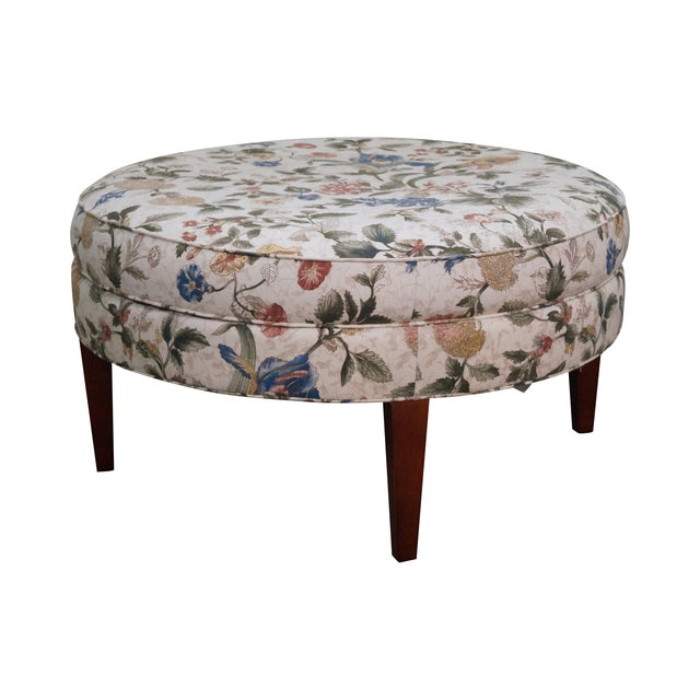 Image of Floral Upholstered Round Ottoman