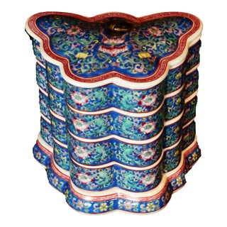 Chinese Porcelain Butterfly Box Stack