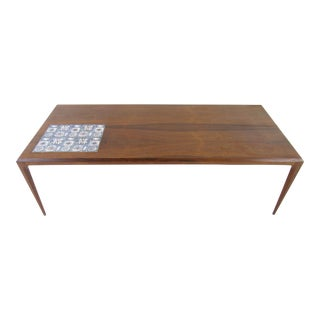 Johannes Andersen Danish Modern Rosewood & Royal Copenhagen Tiles Inset Coffee Table