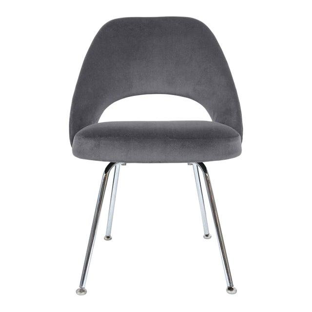 Saarinen Executive Armless Chairs in Gunmetal Grey Velvet, Set of Six - Image 1 of 4