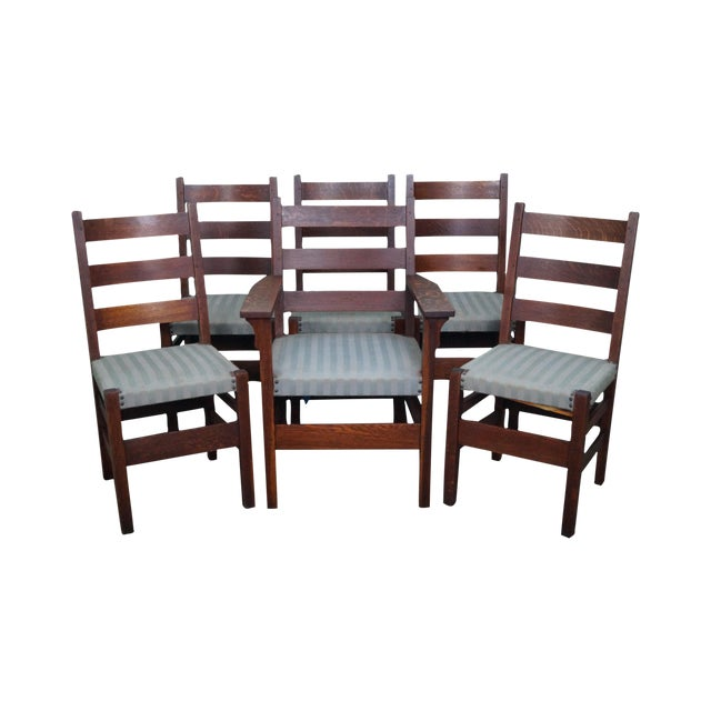 Stickley Dining Room Furniture For Sale: Gustav Stickley Antique Mission Oak Set Of 6 Dining Chairs