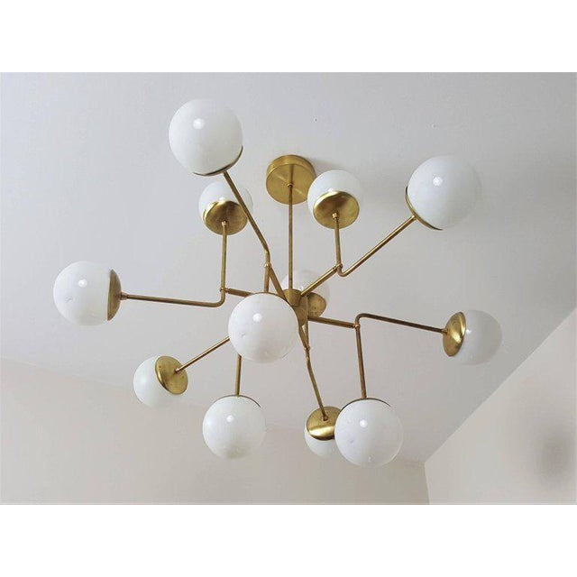 Classic Italian Modern Brass Chandelier With Glass Globes, Model 420 - Image 4 of 7