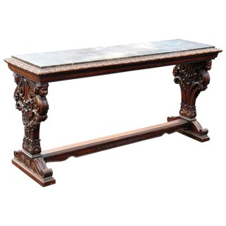 Figural Carved Marble Top Library Table Console