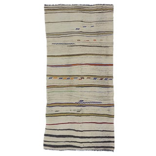 Vintage Striped Turkish Kilim Rug - 4′11″ × 10′6″