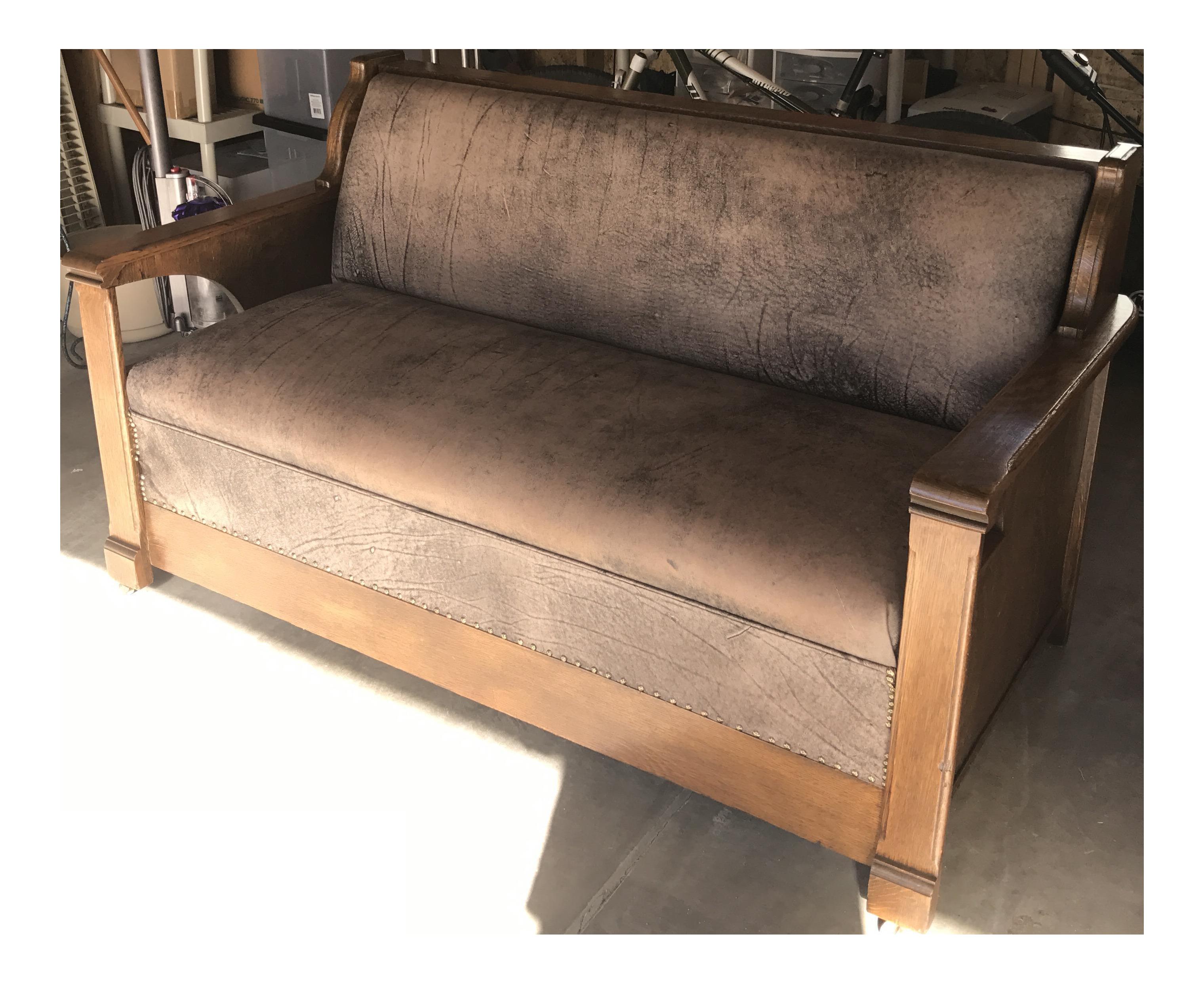 Antique Arts U0026 Crafts Mission Style Quartersawn Davenport Sleeper Oak Sofa
