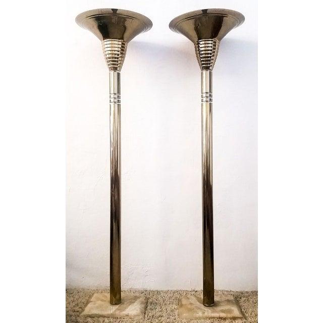 Image of 1970's Italian Brass & Quartz Torchieres - A Pair