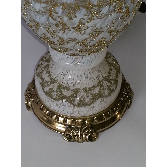 Image of Vintage Opalescent Murano Glass and Brass Lamp