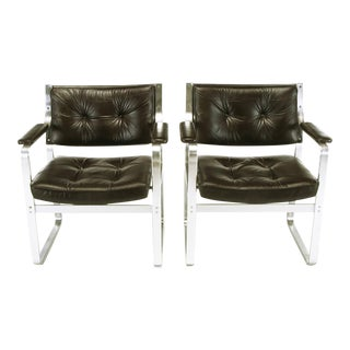 Pair Karl-Erik Ekselius Leather and Aluminum Mondo Armchairs