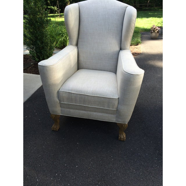 Restoration Hardware Linen Club Wing Chairs - Pair - Image 5 of 6