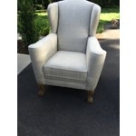 Image of Restoration Hardware Linen Club Wing Chairs - Pair