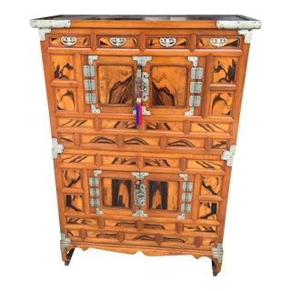 Antique Korean Persimmon Wood Tansu Cabinet