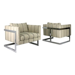 Chrome T-Back Lounge Chairs - A Pair