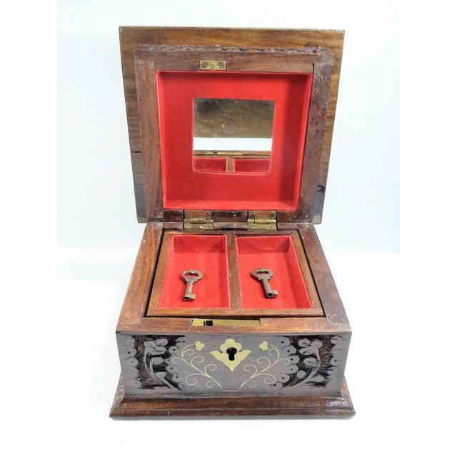 Vintage Square Carved Wood Box - Image 8 of 11