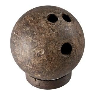 Rare Antique Lignum Vitae Wood Bowling Ball