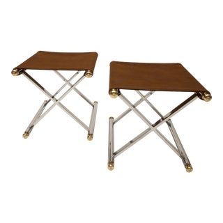 Pair of Hollywood-Regency X-Base Stools, Polished Chrome, Brass and Faux Suede