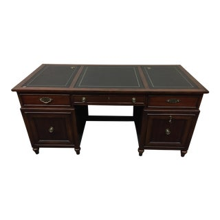 Thomasville Embossed Leather & Mahogany Executive Desk