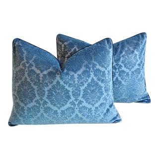 "26"" X 20"" Custom Tailored French Blue Linen Velvet Feather/Down Pillows - Pair"
