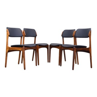 "Erik Buch Rosewood & Leather ""Floating Seat"" Dining Chairs - Set of 4"