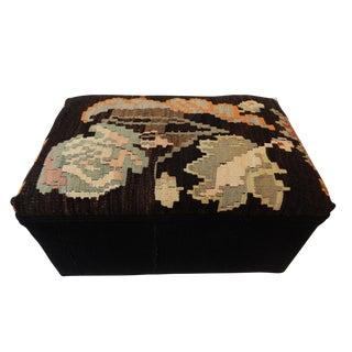 Tribal Kilim Rug & African Mud Cloth Ottoman
