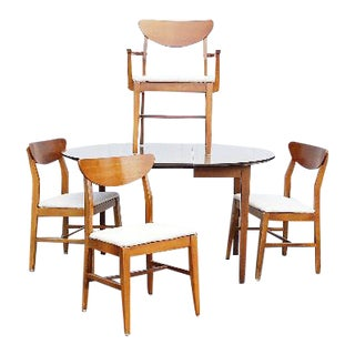 Danish Mid Century Dining Table & Walnut Clamshell Chairs - Set of 5
