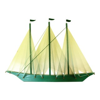 Large Vintage Green String Art Sailing Ship