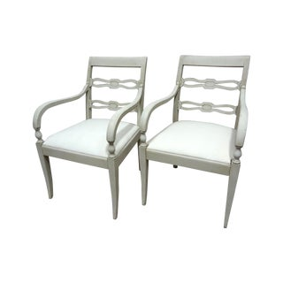 White Swedish Wood Back Chairs - A Pair