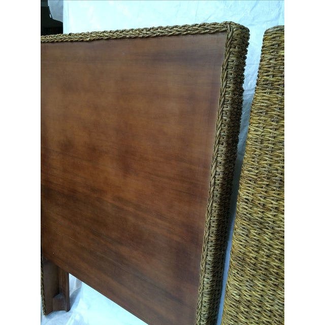 Woven Rattan and Teak Headboards - Pair - Image 8 of 9